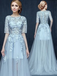 Trendy Scoop Light Blue Half Sleeves Brush Train Appliques With Train Mother of the Bride Dress