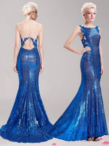 Fitting Mermaid Square Sleeveless With Train Appliques and Sequins Clasp Handle Mother of Bride Dresses with Blue Brush Train