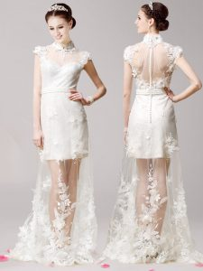 High-neck Cap Sleeves Brush Train Clasp Handle Mother Of The Bride Dress White Tulle