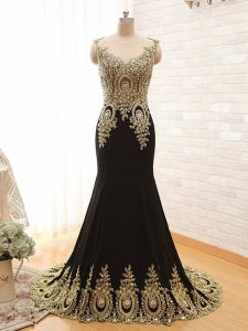Inexpensive Scoop With Train Black Mother of Groom Dress Elastic Woven Satin Brush Train Sleeveless Beading and Appliques