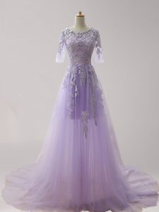 Enchanting Lavender Mother Of The Bride Dress Prom and For with Appliques Scoop Half Sleeves Brush Train Zipper
