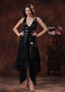 New Halter Black Mother of Bride Dresses with Asymmetrical Hem