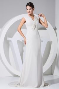 2013 High Quality Brush Train V-neck Mother of the Bride Outfits