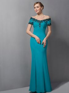 Best Off The Shoulder Short Sleeves Appliqued Teal Mother of Bride Dress
