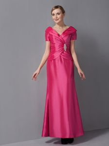 Hot Sale V-neck Ankle-length Hot Pink Mother of Bride Dresses