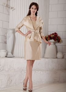 Simple Style Strapless Short Champagne Mother of Bride Outfits