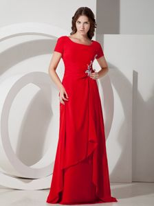 Brush Train Short Sleeves Lace-up Appliqued Red Mother of Bride Dress
