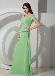 Lace-up Scoop Brush Train Apple Green Mother of Bride Dress