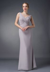 Beautiful Grey V-neck Floor-length Mother Of The Bride Outfits