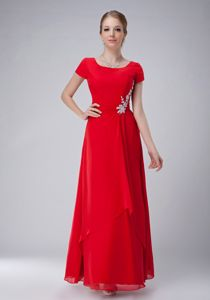 Plus Size Red Empire Scoop Chiffon Appliques Young Mothers Dresses