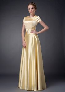 Pretty Yellow Empire Elastic Woven Satin Beading Mother Of Bride Dress