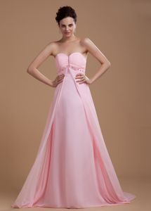 Sweet Baby Pink Chiffon Court Train Mother Of Bride Dress