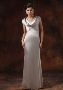 Simple Sliver Satin V-neck Mother Of The Bride Dress With Short Sleeves