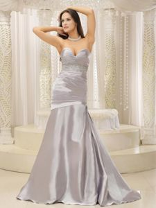 Fashionable Satin and Ruched Beaded Mother Of The Bride Dress
