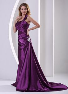 Dramatic Eggplant Purple Court Train Elastic Woven Satin Mother of Bride Dress