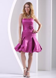 Cute Fuchsia Strapless Bridesmaid Dress with Hand Made Flowers
