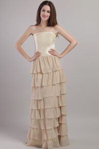 Multi-tiered Champagne Empire Strapless Mother Of the Bride Dress
