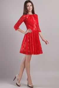 Eye-catching Red Empire Lace Embroidery Mother Of The Bride Dress