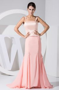 Sweet Peach Chiffon Mermaid Mother Bride Dress with Satin Bodice