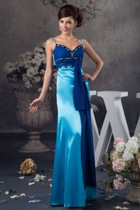 Impressive Two-toned Blue Floor-length Mother of the Groom Dress