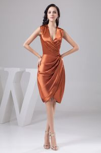Fitted Ruched V-Neck Orange Mothers Dresses for Weddings