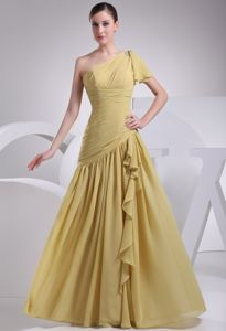 Popular Yellow One Shoulder Asymmetric Mother Of The Groom Dresses