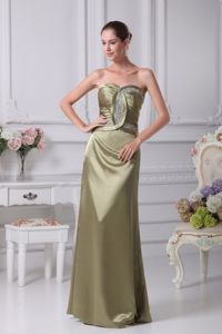 Classy Olive Green Sweetheart Beading Decorated Dress For Bride Mother