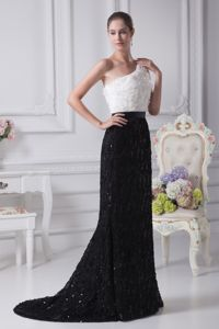 Most Elegant Black and White One Shoulder Mother Bride Dress