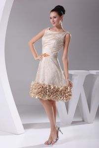 Bateau Lace Belt Knee-length Mother of Bride Dresses with Ruffled Hem