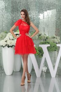 Mini-length One Shoulder Layered Red Dresses for Bride Mother