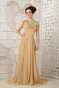 Empire Ruched V-neck Beaded Chiffon Mother of the Bride Dress