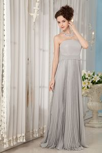 Floor-length Strapless Grey Pleated Affordable Mother Bride Dress