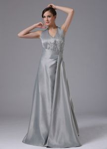 Beaded Appliqued Floor-length Silver Hater Mother of Bride Dress